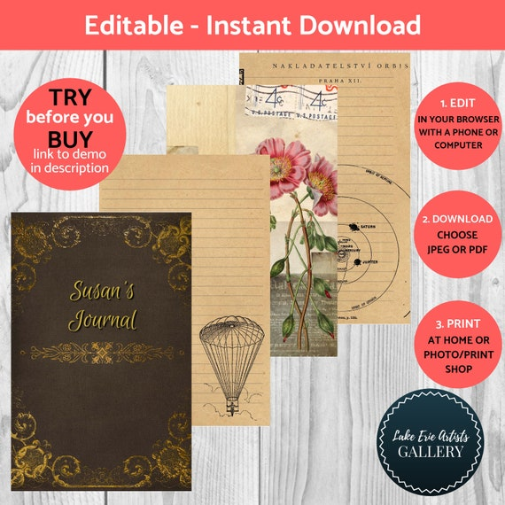 Printable Steampunk Journal Kit