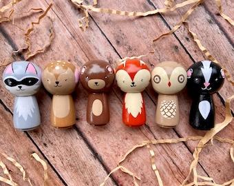 Peg Doll Woodland Animals, Kokeshi Style