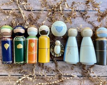 Nativity Peg Dolls-Large 10 piece set