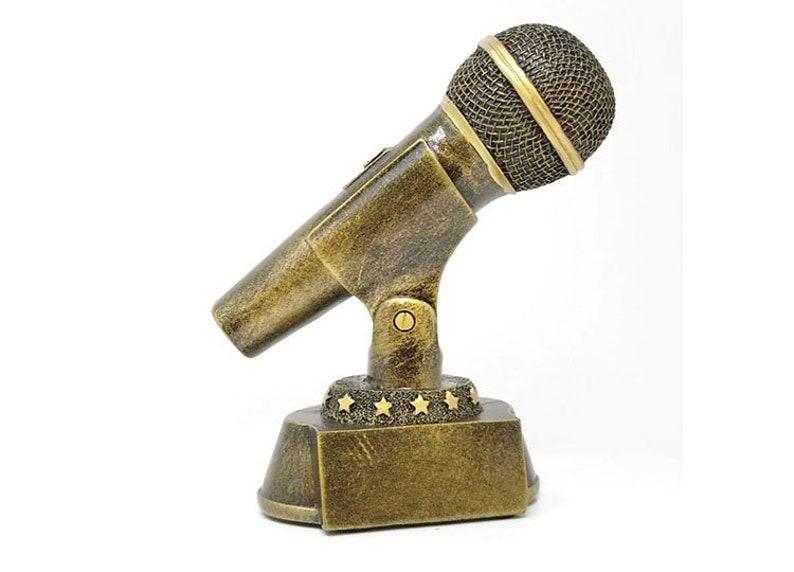 למעלה Gold Microphone Trophy Karaoke Award Emcee Golden Mic | Etsy PY-85
