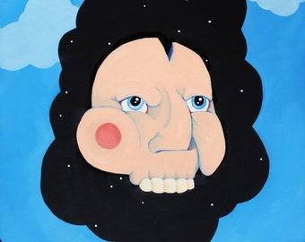 Surreal Low Brow Flesh Skull Head Cloud Sky Brick Oil Acrylic Painting Fine Art Print