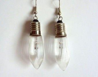 Handmade Vintage Christmas Lamp Earrings - Christmas Lights - Glass Bulbs - Stolp Drops - Earring Lamp with Ridges - Lights Light