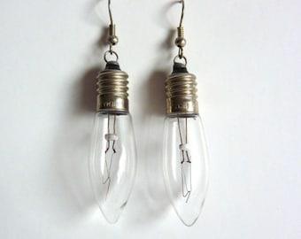 Handmade vintage Christmas lights earrings - Christmas lights - glass earring - lamp, lamps - atmosphere lights - light in your ears -