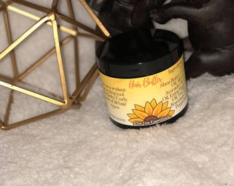 Hair Butter! All Natural. Chemical Free. Preservative Free. Paraben Free. Mineral Oil Free. For all Kinky & Curly Hair. Locks in Moisture!