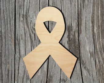 Cancer Ribbon MDF Laser Cut Craft Blanks in Various Sizes