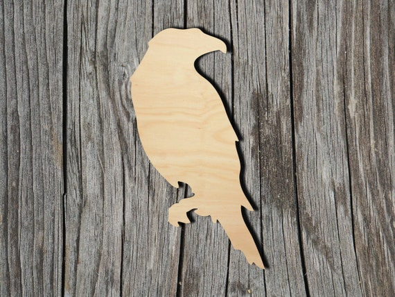 Raven Crow Bird Laser cut ply wood shape craft arts decoration ALL SIZES