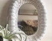 Vintage Oval Wicker Mirror Handmade White Rattan Wood Hanging Mirror Ready to Hang Boho Woven Wall Mirror