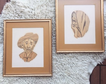 Vintage Rice Straw Art / Pair of Abuelo y Abuela Rice Straw Portraits / Signed Folk Mexican Framed Art