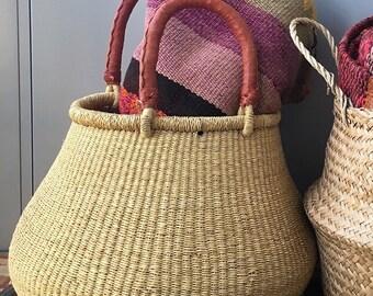 Large Natural African Bolga Basket / Handwoven Fair-Trade Pot Basket / Handcrafted Ghanan Bulb-Shaped Market Basket