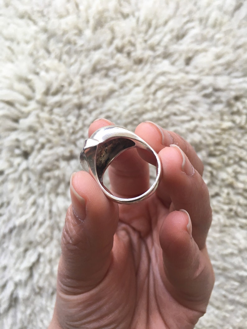Vintage Modernist Silver Ring US Size 8.5   Chunky 925 Unisex Silver Ring  Vintage Austrian Solid Silver Statement Ring