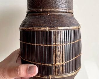 Vintage Handmade Wicker Container / Folk Rattan Tree Bark Lidded Vessel / Boho Woven Basket Storage