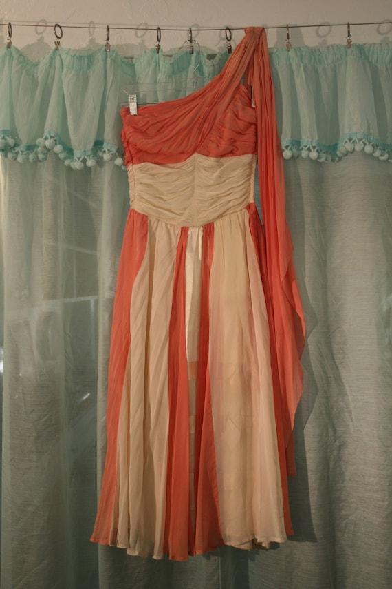 Peach and cream vintage 50s silk chiffon asymmetri