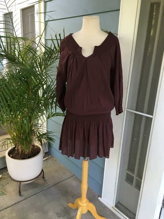 70s style drop waist plum peasant dress with smock