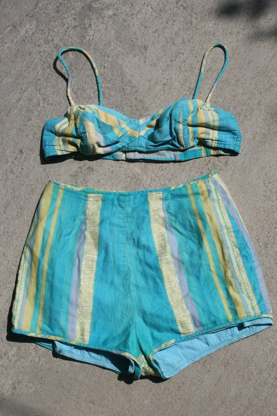 Blue pleated cup 40s vintage cotton swimsuit