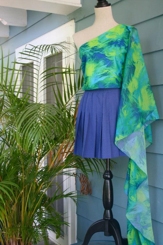 Green and black sheer slip dress. - image 2