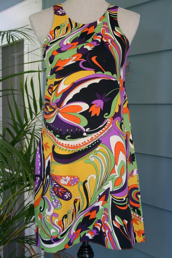 60s stretchy psychedelic swirl-print Gucci style s