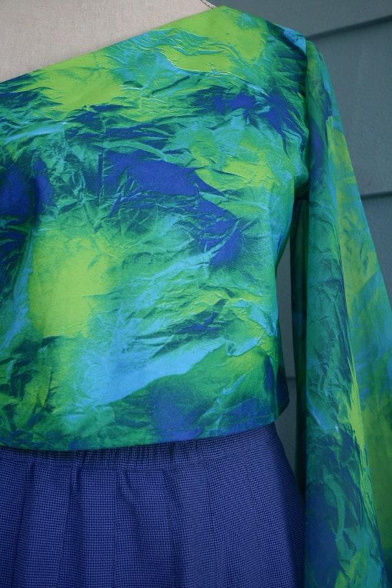 Green and black sheer slip dress. - image 3