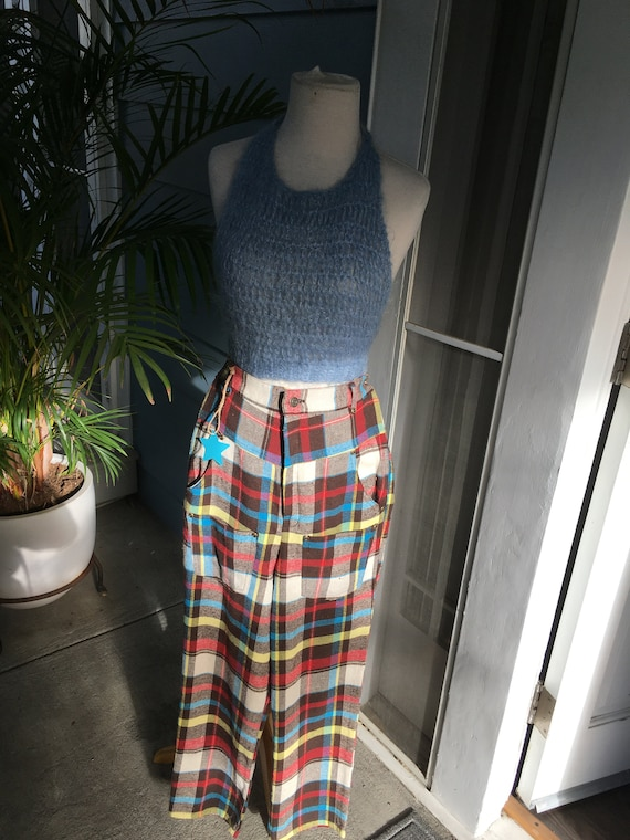 80s style high waisted punk-y plaid pants - image 1