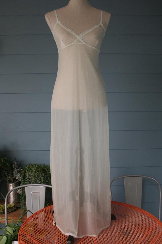 White sheer full length 90s style vintage slip dr… - image 1