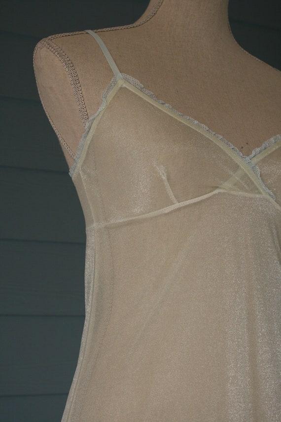 White sheer full length 90s style vintage slip dr… - image 2