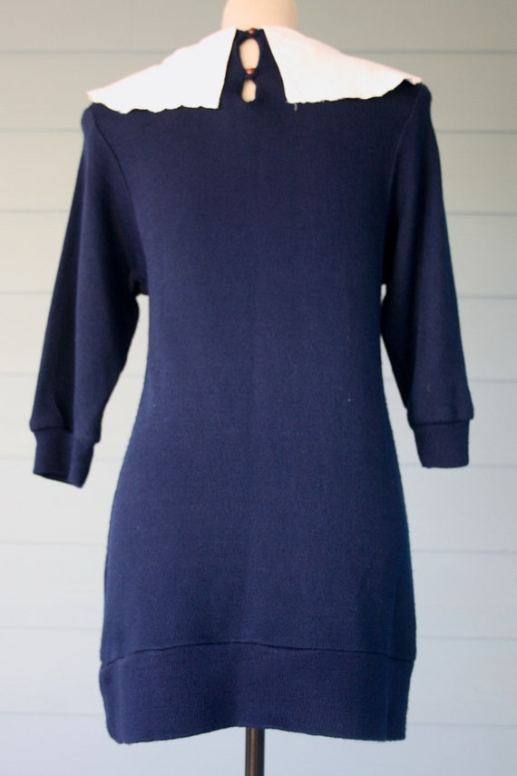 Navy blue 80s sweater dress with exaggerated embr… - image 3