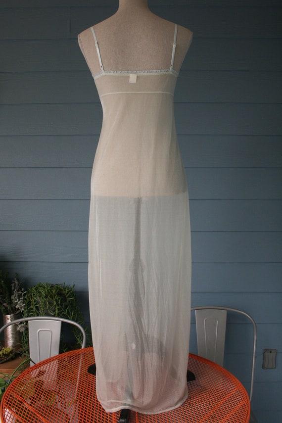 White sheer full length 90s style vintage slip dr… - image 3