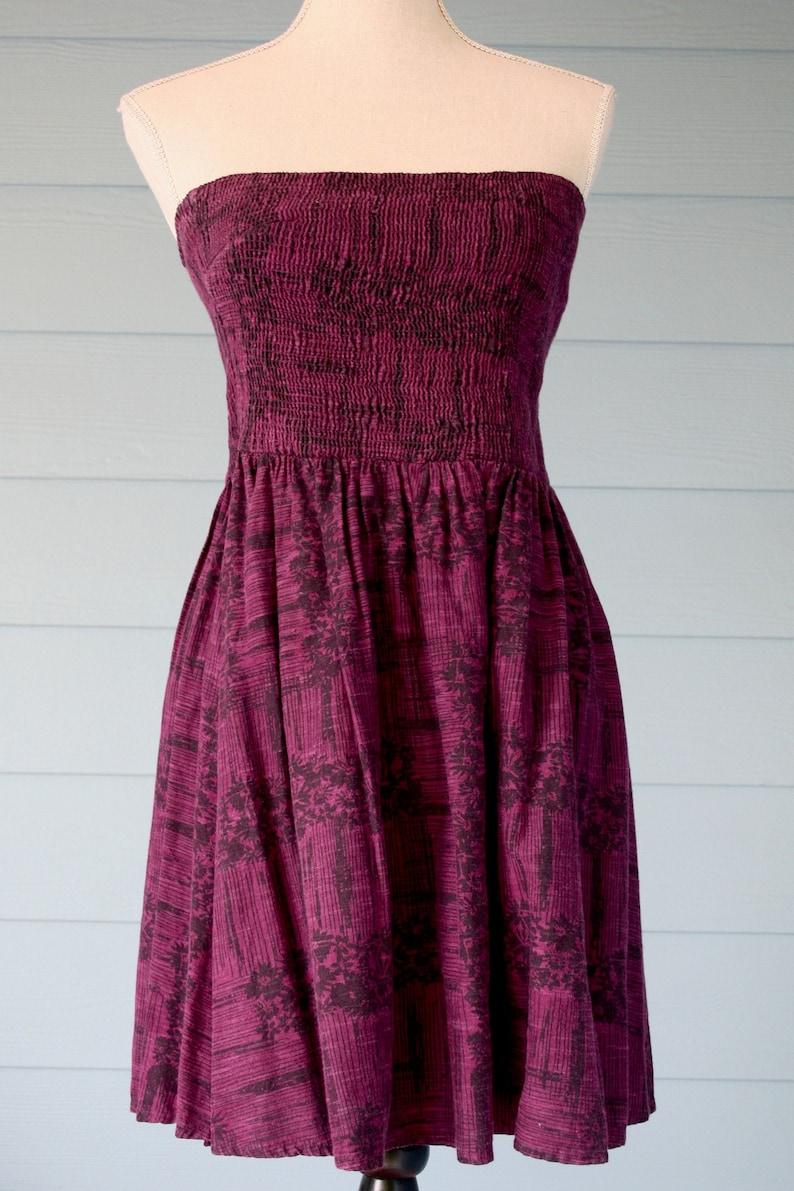Purple and black vintage cotton shirred bodice strapless sun dress.