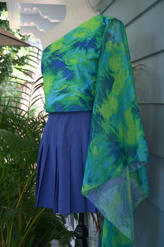 Green and black sheer slip dress. - image 4
