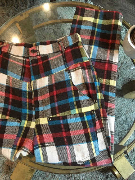 80s style high waisted punk-y plaid pants - image 2