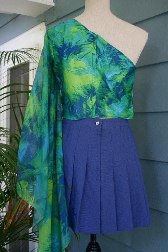 Green and black sheer slip dress. - image 6