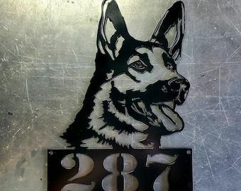 Custom German Shepherd House Number Hanger | Metal Art | Wall Art | Home Decor | Outdoor Decor | Front Door | Address