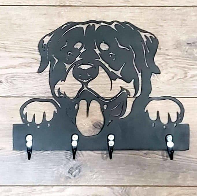 Custom Rottweiler Wall Hanger w/ Hooks   Metal Art   Wall Art   Home Decor   Leash Hanger   Key Hanger for sale