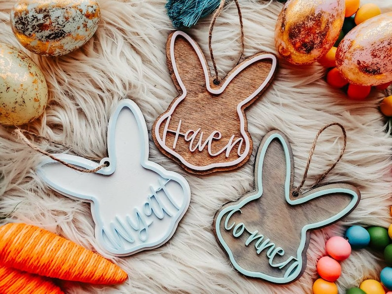 Easter Basket Name Tags Custom Personalized Easter Basket Tags Easter Basket Names Easter Bunny Wood Cutouts Spring Decor Personalized Tags