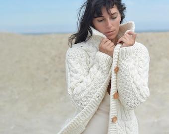 Handmade Knitted Chunky Wool Sweater Cardigan - Soft, Warm & Cozy