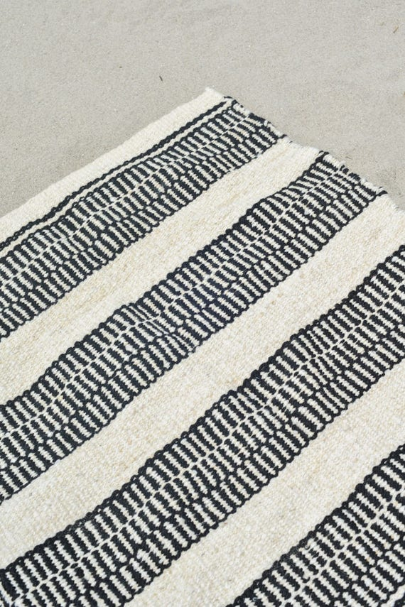 Black and White Rug/Ecuador Rug/Striped Rug/Office Rug/Kitchen Rug/Bedroom  Rug/Soft Rug/Accent Rug/Handspun Wool Yarn/Hand Loomed Rug/Modern