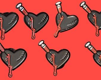 Pin Seconds - Black Heart Soft Enamel Pin - Factory Seconds - Emo pin - Yamikawaii