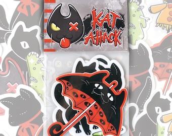 Black Cat Vinyl Sticker Pack