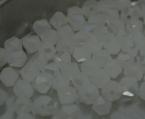 Pastel Pink AB//White AB//Jade Mix 4mm 100 Austrian Crystal Glass Bicone Beads
