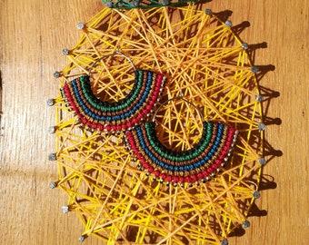 Macrame and beads macrame Silver earrings hoop earrings