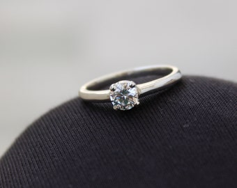 b24d0a49e4 925 Sterling Silver - Lab Created Diamond Ring - Cubic Zircon - Handmade  Jewelry - 5 MM Round Cut Ring - All Size US 3 to 13 - Promise Ring