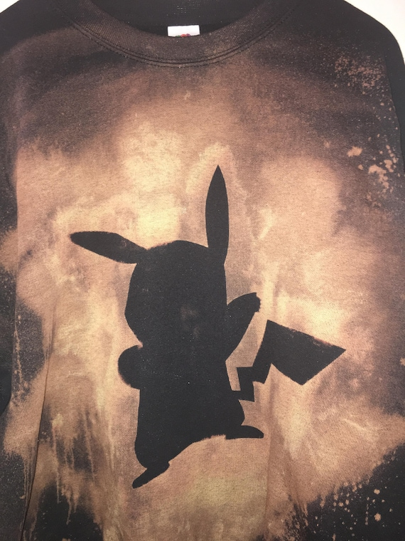 510d07d69 Pikachu Pokemon Pocket Monster Hand Bleached Sweatshirt | Etsy