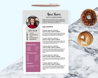 Creative resume template for InDesign Cover letter CV template Stylish Instant digital download Designed resume Gift for her Gift for him