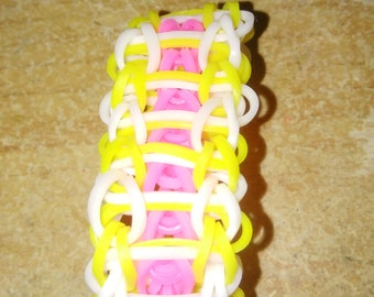 Yellow White and Pink Ladder Bracelet