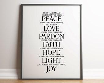 Prayer of St. Francis Print - Lord, Make me an instrument of your peace 2 - Motivational, Inspiring - Minimal, Typewriter Print - Wall Art