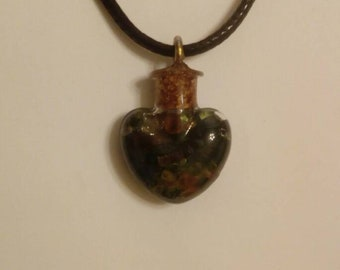Six gem stones glass vile necklace