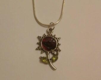 Garnet, peridot flower necklace
