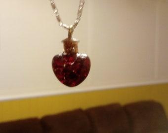 Garnet love heart necklace