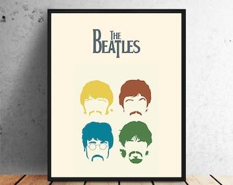 The beatles poster, beautiful design, wall art, home wall decor, printable minimalist design music john lennon, paul mccartney ringo starr