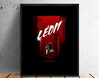 Leon movie poster, the professional print, props, minimalist art, print, home wall decor, retro, film, jean reno luc besson natalie portman