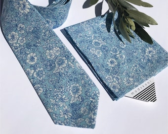 Australian made Bespoke tie & pocket square in Liberty of London, handmade, made to order/Emily silhouette blue